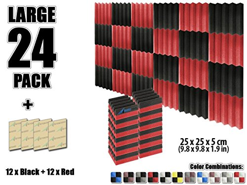 arrowzoom-new-24-pack-of-98-x-98-x-19-inches-black-and-red-soundproofing-insulation-wedge-acoustic-w