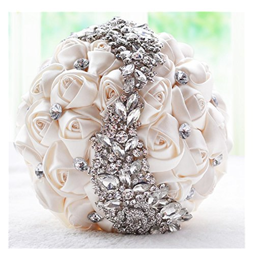 primerry Exquisite Rosettes Embellished with S Shape Rhinestone Bride Handle Bouquet (Milk White)