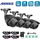 ANNKE 4 Pack1.3MP 960P HD TVI Home Security Bullet Camera, 3.6MM Lens IP66 Waterproof Outdoor Indoor Night/Day Vision 100ft