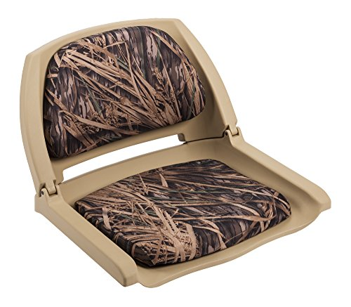 Wise 8WD139 Series Molded Fishing Boat Seat with Camoflage Cushion Pads, Tan Shell, Mossy Oak Shadow Grass Cushion
