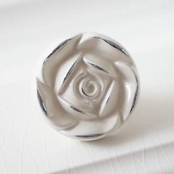 Shabby Chic Dresser Knobs Dresser Drawer Pulls Handles Ivory White Silver Cabinet Door Handle Knob Pull Hardware Rose Flower Knob Back Plate