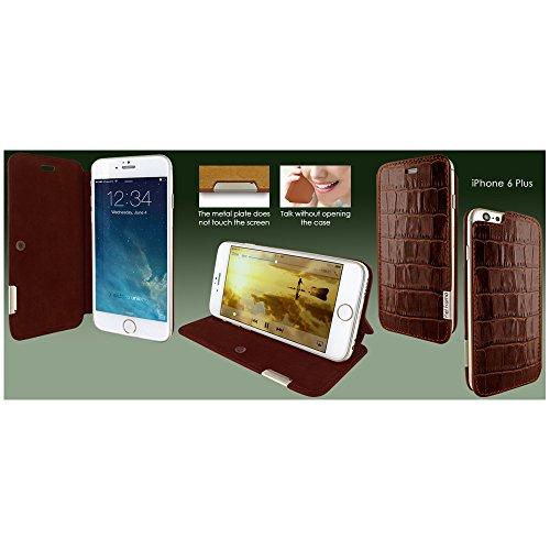 Piel Frama 686COM Etui rigide de protection design Crocodile pour iPhone 6 Plus Marron