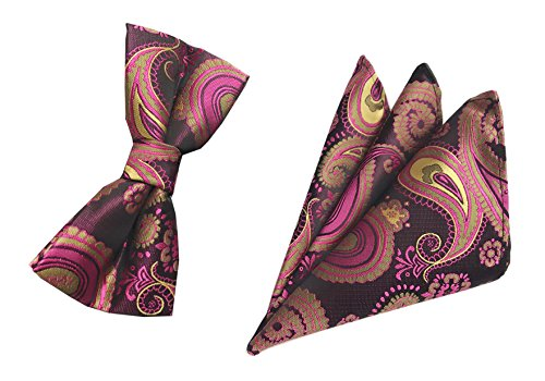 (Men Rose Pink Woven Bow Tie Wedding Neckwear Dress Suit Bowtie Paisley Patterned)