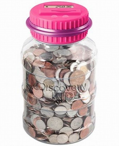 - Discovery Kids Coin Counting Money Jar Electronic Bank Digital Coin Counter Pink