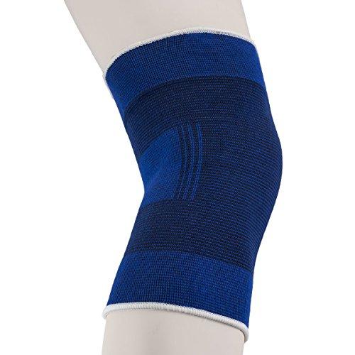 A&B Med Elastische Kniebandage, nahtlosin Blau - Stabilisiert, schont und wärmt Knie und Gelenke (XL)