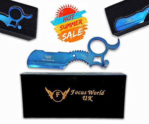 Titanium Blue Barber Ring Razor by Focus World | Professional Finger Insert Handle Barber Razor |Straight Cut Throat Wet Shaving Razor | Barber Ring Straight Razor (Best Cut Throat Razor In The World)