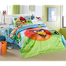CASA Children cotton series Angry Birds duvet cover and pillow case and Flat sheet,3 Pieces,Twin Extra-Long