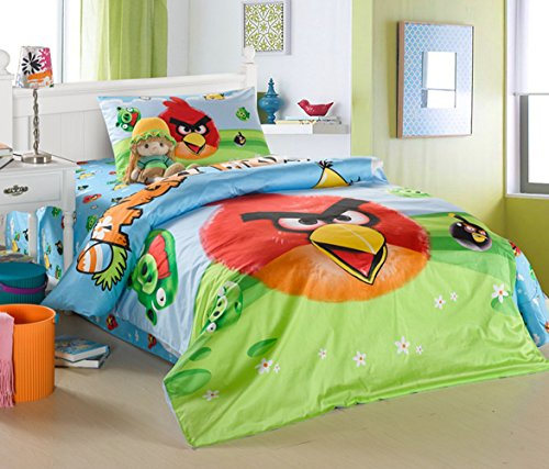 CASA Children cotton series Angry Birds duvet cover and pillow case and Flat sheet,3 Pieces,Twin Extra-Long -