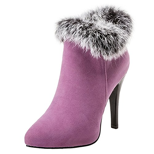 CUTEHEELS Fashion Ankle Boots with Thin Heel and Sexy Fur Fashion Boots for Wedding Parties Purple