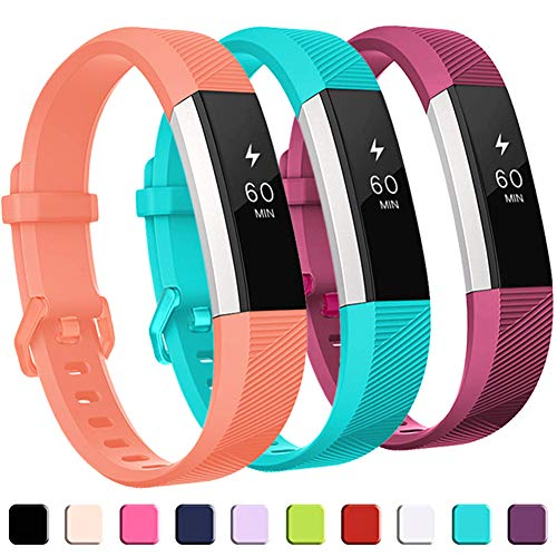 GEAK for Fitbit Alta HR Bands,Replacement Bands for Alta,3Pack,Coral Fuchsia and Teal,Small