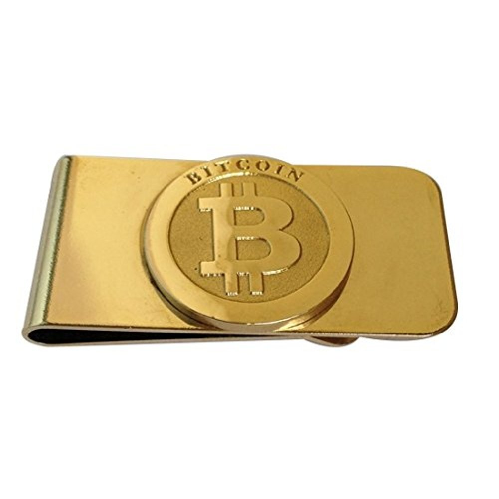 BTC Bitcoin Moneyclip Money Clip Real Cash Credit Card Holder Gold Plated