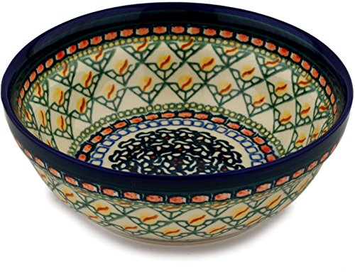 (Polish Pottery 6½-inch Bowl (Everlasting Flame Theme) Signature UNIKAT + Certificate of Authenticity)