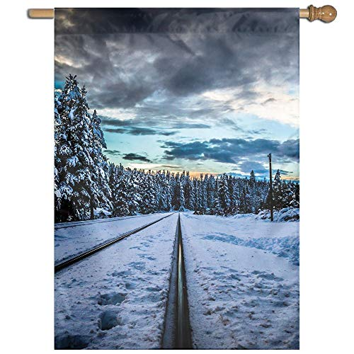 Garden Flag Winter Forest Railroad Lawn Banner Outdoor Yard Home Flag Wall Decoration Flag 27 X 37 Inch