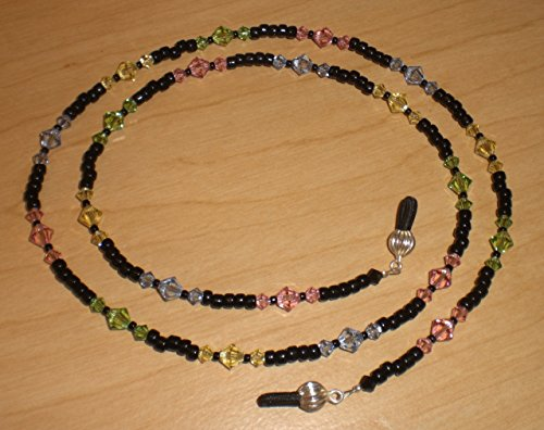 Black/Jonquil/Ligth Rose/Light Sapphire/Peridot Crystals Bead Mix Eyeglass Chain