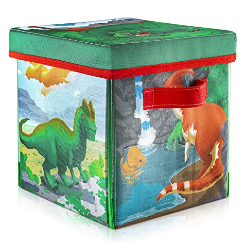 Prextex 2-in-1 Convertible Dinosaur Toys Storage Bin & Pre-Historic Dinosaur Play Mat