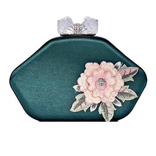 Rhinestone Bag Flower Damara Damara Green Womens Snap Evening Womens Embroidery a8wX6