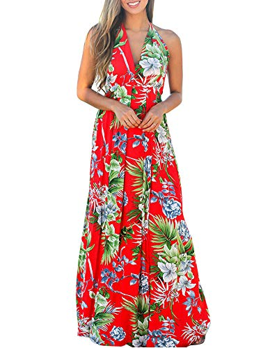 Women's Boho Wrap Maxi Dresses - Sexy Spaghetti Strap Floral Beach Sun Dresses (Large, Red-Milk - Hawaiian Silk Dresses