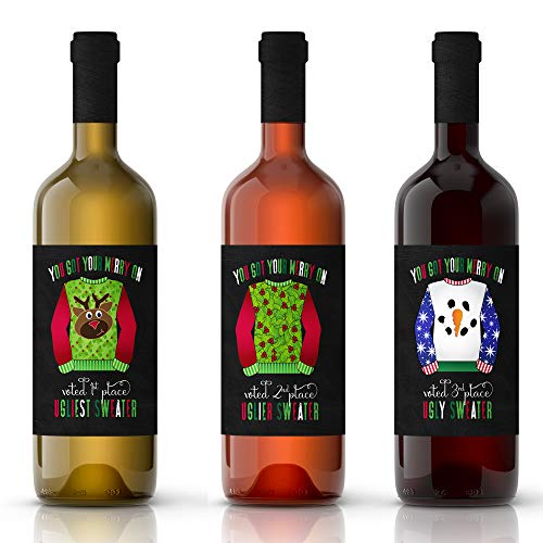 3 Ugly Sweater Wine Bottle Labels - Christmas Party Supplies - Multi-Use Winner Stickers for Prizes -
