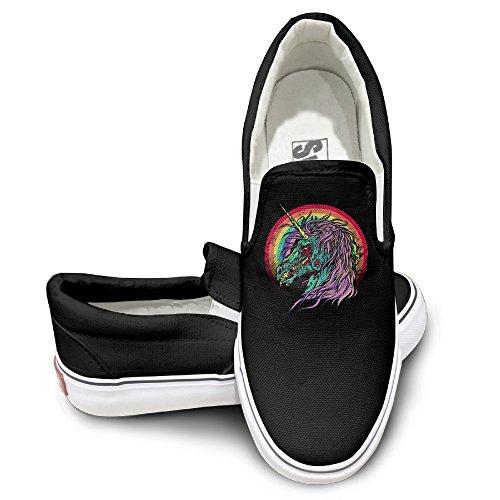[EWIED Unisex Classic Zombie Unicorn Slip-On Shoes Black Size39] (J Valentine Unicorn Costume)