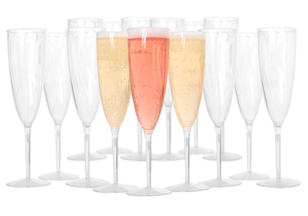 Plastic Champagne Flutes - Plastic Wine Glasses for Weddings and special Celebrations - Disposable Champagne Flutes - Plastic Champagne Glasses made of One Piece - BPA Free - 6 oz - Set of 18 cups