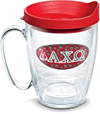 Tervis 1078460 Fraternity - Alpha Chi Omega Tumbler with Emblem and Red Lid 16oz Mug, Clear
