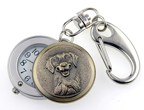Golden Retriever - Brass Tone - Novelty Belt Fob/Keychain (Golden Retriever Belt)