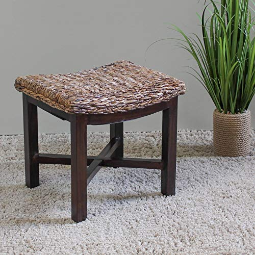 MISC Rattan Footstool Woven Wicker Rustic Decoratie Cube Wooden Storage Furniture Foot Stool Table Natural Wood Mahogany Cushioned Footstools (Cube Furniture Rattan)