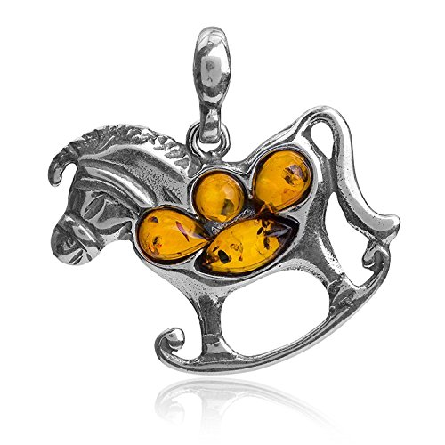 Amber Sterling Silver Rocking Horse Pendant ()