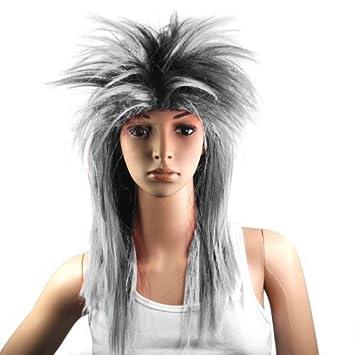 SODIAL(R) Peluca Plateada Negra Punk Rock para Fiesta de Disfraces Carnaval