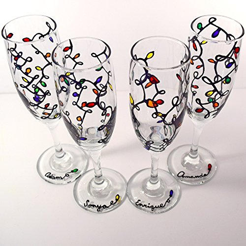 Flutes Multi Light (Christmas Lights Champagne Flutes - Hand Painted Glasses - Personalized Glasses - Set of 2 or 4)