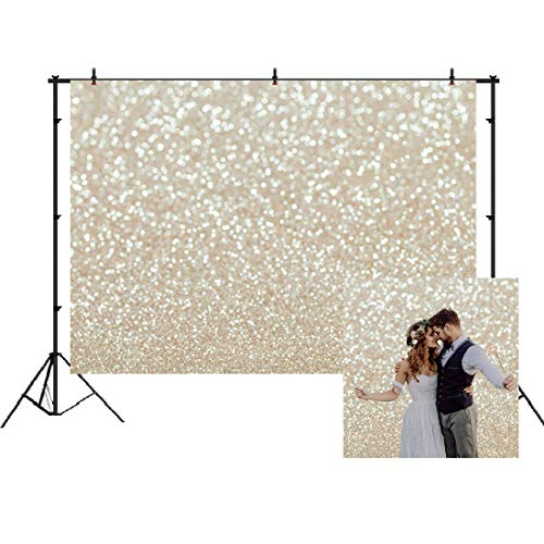 White Gold Abstract Photography Backdrop Golden Spots Shinning Background Weeding Baby Shower Newborn Baby Portrait Photo Studio Props White Gold Christmas Abstract Bokeh Background 7x5ft]()