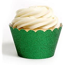 Dress My Cupcake Standard Emerald Green Reusable Glitter Cupcake Wrappers, Set of 12
