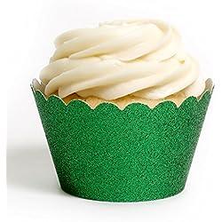 Dress My Cupcake Standard Emerald Green Reusable Glitter Cupcake Wrappers, Set of 12