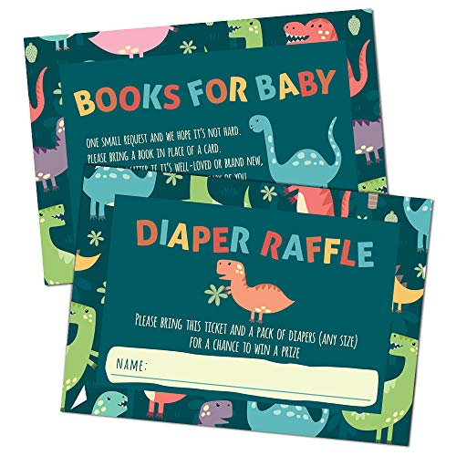 Set of 25 Dinosaur Baby Shower Diaper Raffle Tickets and Book Request Cards - Gender Neutral Baby Shower Invitation Inserts for Baby Boys and Baby Girls - 25 Cards Each, 50 Cards Total]()