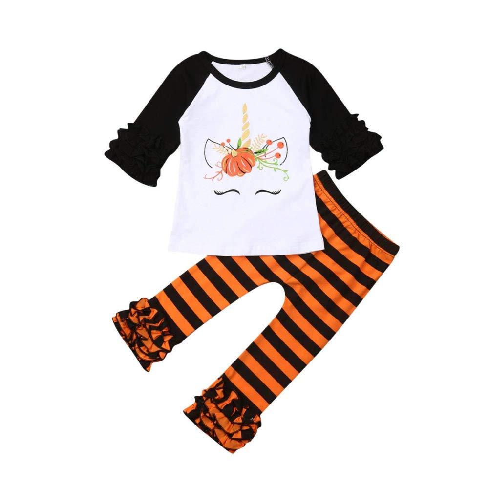 Baby Girls Halloween Set Ruffles Orange Pumpkin Top Striped Pants Striated Leggings 2PCS