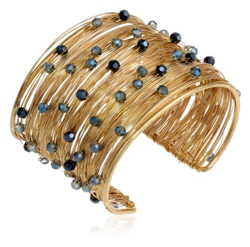 Panacea Midnight Navy Crystal Flexible Gold Wire Cuff Bracelet, 7