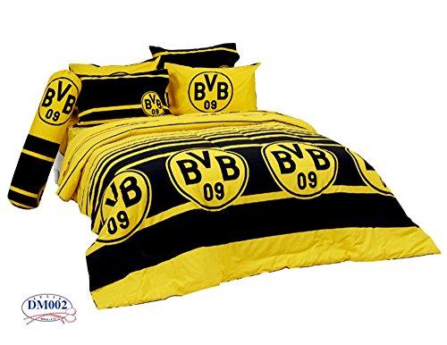 Borussia Dortmund BVB Fc Football Club Soccer Team Official Licensed Bedding Set, Fitted Bed Sheet, Pillow Case, Bolster Case, Comforter DM002 Set B+1 (Queen 60''x78'') by Tamegems Bedding