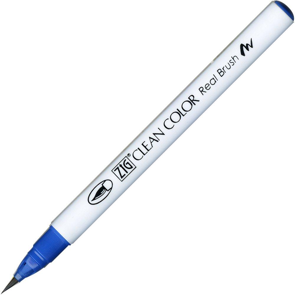 Kuretake ZIG Clean Color Real Brush Pen, Dull Blue Ink