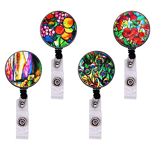 WOLUNWO Retractable Badge Holder Reel with 360/° Alligator Swivel Clip 5 Pack Love Heart Series Heart-Shaped