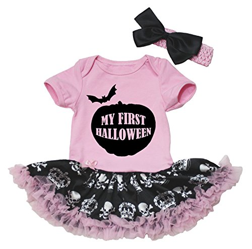 Petitebella My First Halloween Pink Bodysuit Skulls Crown Black Baby Tutu Nb-18m (6-12 (Halloween Costumes For Family Of 8)