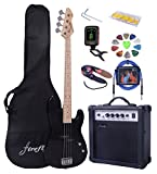 Full Size Black Electric Bass Guitar Pack with 15 W power Amp Case Strap Package