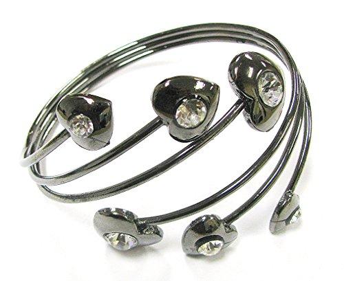 Linpeng Handmade Rhinestone Bangle Bracelet Zircon Heart Gun Metal