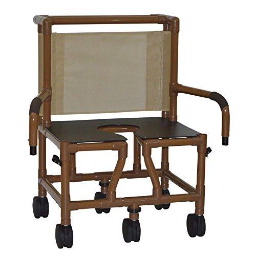 MJM International WT126-5TW-BAR-DDA Wood Tone Bariatric Shower Chair with Standard Seat and Drop Arms, 425 oz Capacity, 40