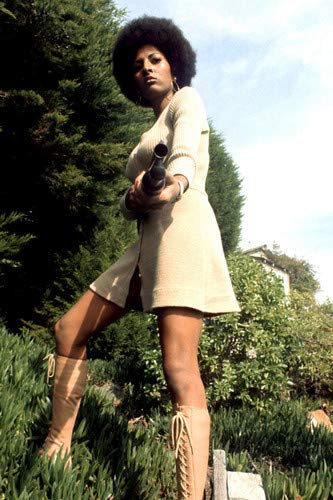 (Pam Grier in Coffy sexy 70's fashion boots & skirt shotgun 24x36 Poster)