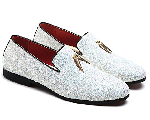 CMM Men's Rhinestones Slip On Nightclub Shoes Textured Glitter Sequins Loafers White 10in -