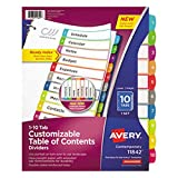 TableTop King 11842 Ready Index 10-Tab Multi-Color Customizable Table of Contents Dividers