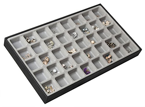 Earring Display Tray - JackCubeDesign 40 Compartments Stackable Leather Jewelry Tray Earring Necklace Bracelet Ring Organizer Display Storage Box(Set of 1, Black, 16 x 9.6 x 1.6 inches)-MK212-1A