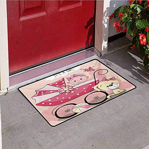 Jinguizi Gender Reveal Universal Door mat Greeting for New Infant Puppy Dog and Baby Carriage Pastel Colors Door mat Floor Decoration W35.4 x L47.2 Inch Pale Yellow and Pink