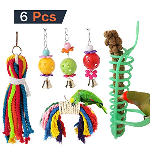PIVBY 6 Pack Small Bird Parrot Foraging Toys Colorful Rope Swing Chewing Hanging Perches Feeder Cage Toys with Bells for Pet Parrot Lovebird Budgie Cockatiels Macaws Finches and Other Medium Birds from PIVBY