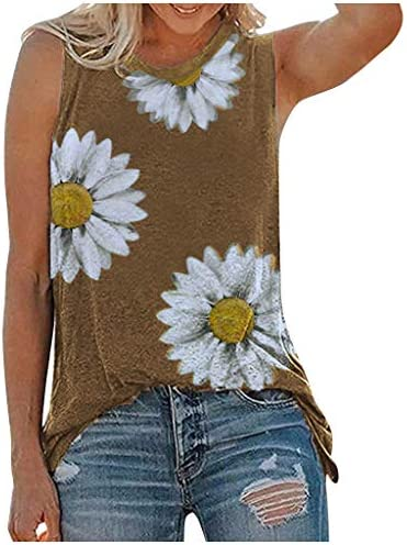 Memela Tank Tops for Women Summer Beach Casual Sleeveless T Shirt Daisies Printed Round Neck Graphic Tees Vest Comfy Tanks